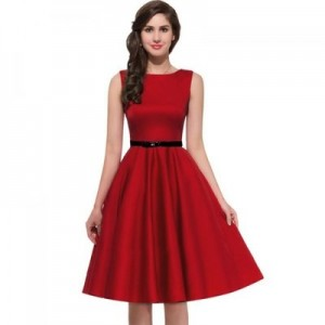 Miusol Red Flared Dress